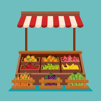 Tienda natural de frutas y verduras frescas.