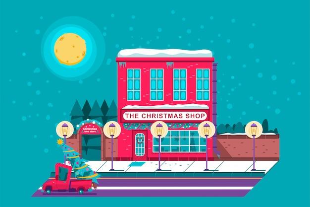 La tienda de navidad y la ilustración de vacaciones de dibujos animados de tienda de árbol de granja