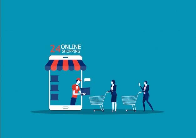 Tienda online de aplicaciones. ventas de comercio electrónico
