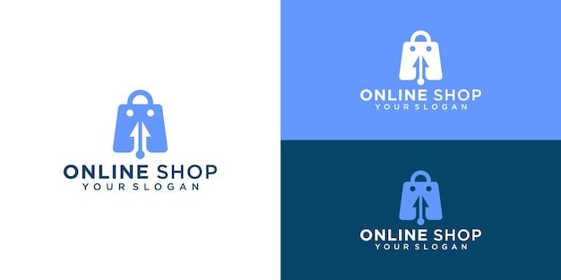 Tienda online creativa, bolso combinado con plantilla de logotipo de cursor y tarjeta de visita