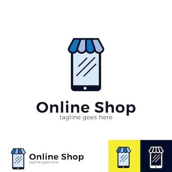 Tienda online de diseño de logotipo con ilustración móvil