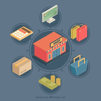 Tienda online con elementos de compra isométricos