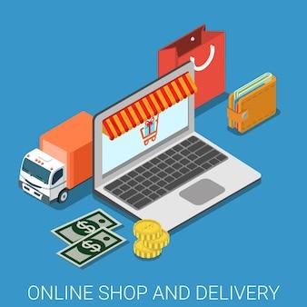 Tienda online y entrega plana isométrica.