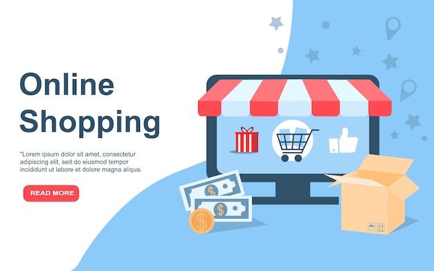 Tienda online, eshop, venta por internet, marketing online. diseño moderno plantilla de página de aterrizaje o página de inicio. ilustración. concepto.