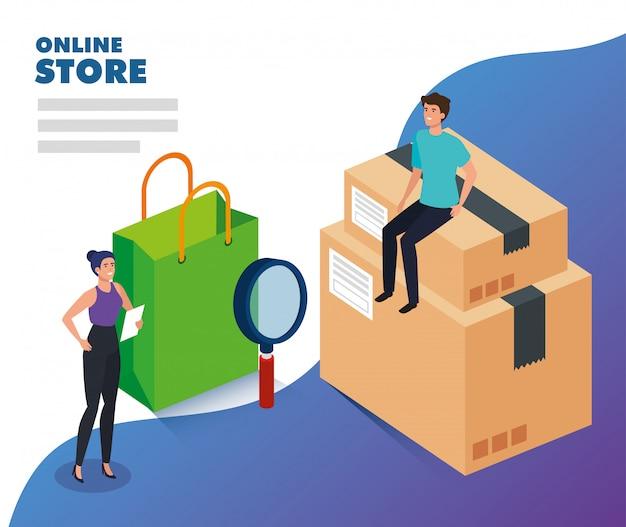 Tienda online con gente