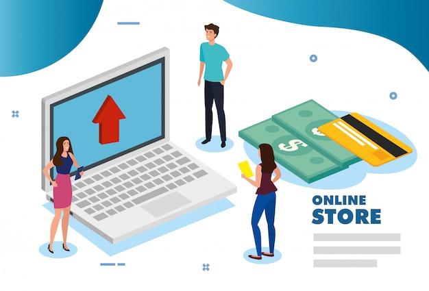 Tienda online con laptop
