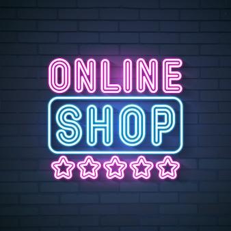 Tienda online letrero de neón Vector Premium