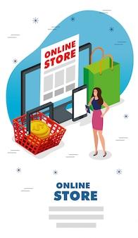 Tienda online con mujer