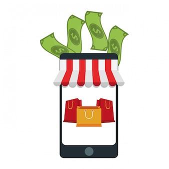 Tienda online de smartphones shoppnig con dinero en efectivo y bolsas.