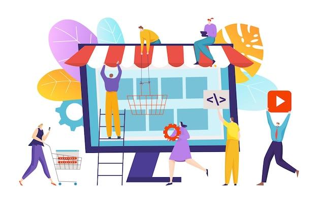 Tienda online de tecnología moderna construcción personas diminutas