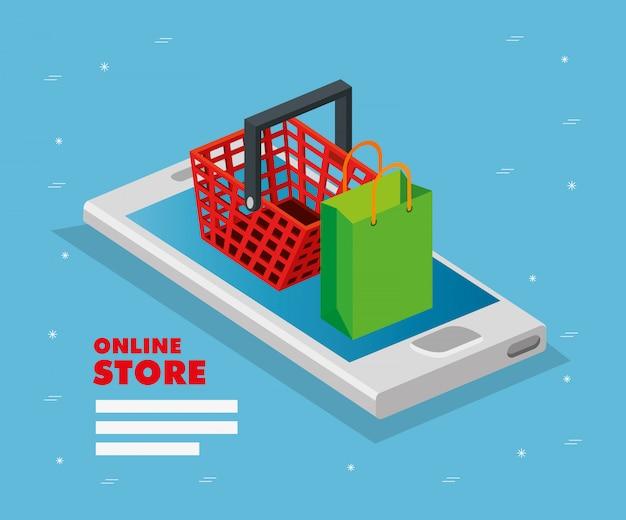 Tienda online con teléfono inteligente
