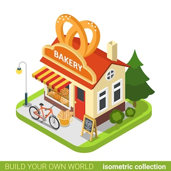 Tienda de panadería pretzels forma edificio café restaurante realty concepto de bienes raíces.