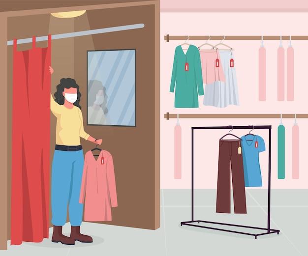 Tienda de ropa durante la epidemia plana. perchas con ropa y vestuario.