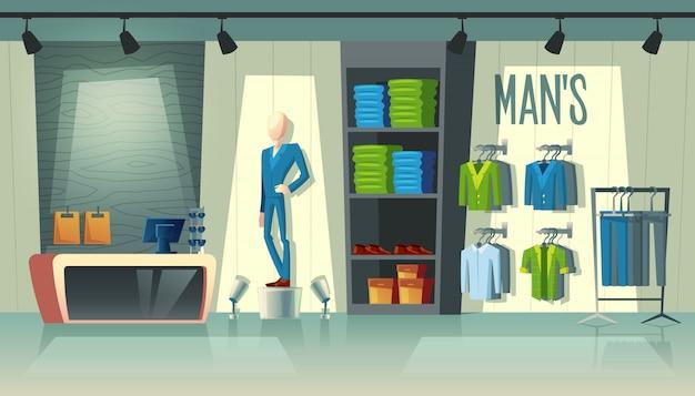 Tienda de ropa para hombres: vestuario con trajes, maniquí de dibujos animados con disfraces y cosas en perchas.