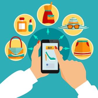 Tienda de ropa en línea aplicación móvil composición