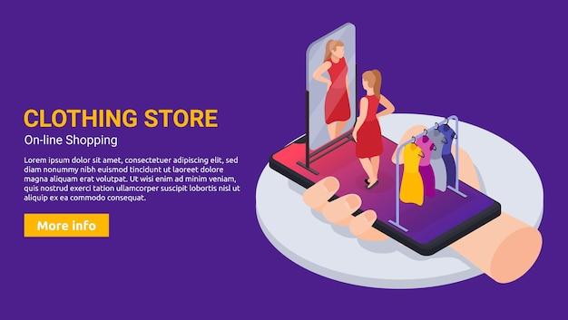 Tienda de ropa en línea banner web isométrico horizontal con teléfono inteligente y mujer probándose un vestido rojo