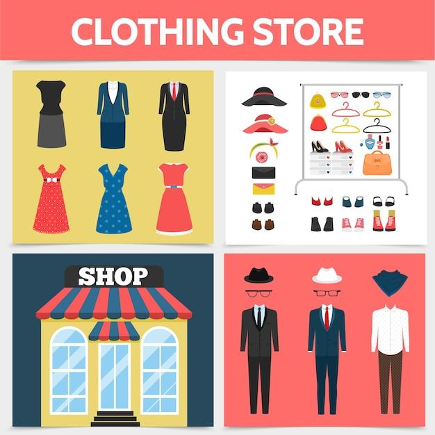 Tienda de ropa plana concepto cuadrado con fachada de tienda vestidos trajes sombreros anteojos zapatos broche