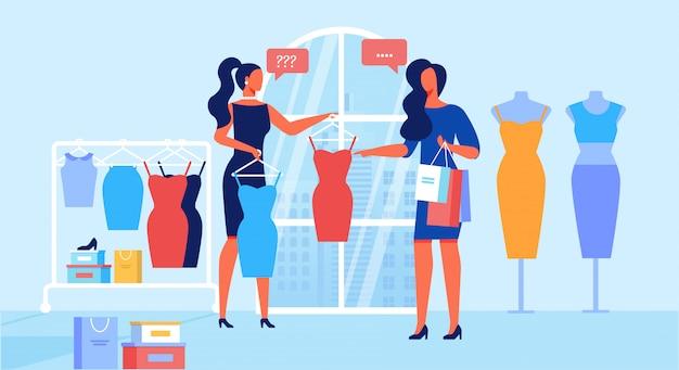 Tienda de ropa servicio de atención al cliente plana