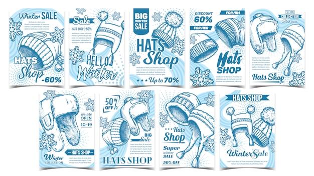 Tienda de sombreros oferta de invierno publicidad conjunto de pancartas