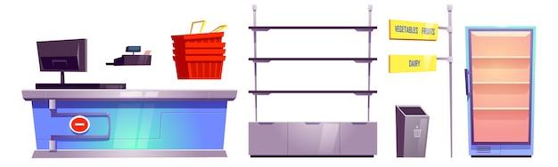 Tienda de supermercado con mostrador de pago, estantes, cestas y refrigerador para alimentos.