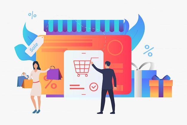 Tienda con tarjeta de crédito, cajas de regalo, ilustración compradores.