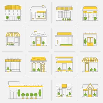 Tienda de la tienda de negocios edificios línea plana conjunto de iconos ilustración vectorial aislado