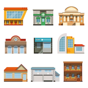 Tienda tienda ventana frontal edificios conjunto de iconos