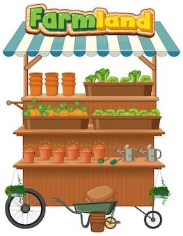 La tienda de tierras de cultivo vende plantas con el logotipo de tierras de cultivo