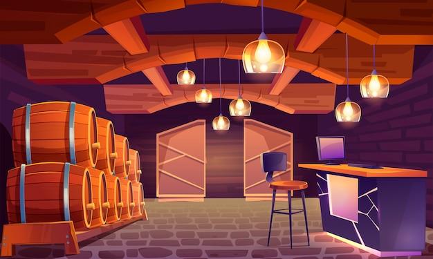 Tienda de vinos, interior de bodega con barriles de madera.