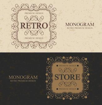 Tienda vintage monogram frontera de lujoso diseño caligráfico