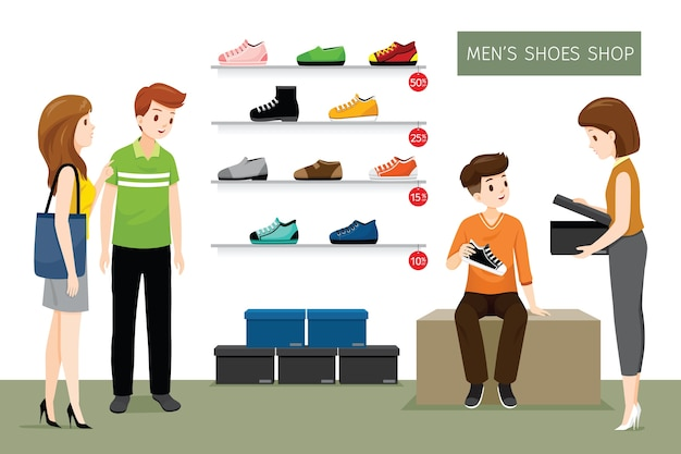 Tienda de zapatos de hombre con vendedora y clientes