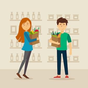 Tiendas de comestibles de diseño plano