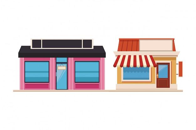Tiendas de compras frente de dibujos animados