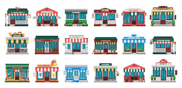 Tiendas de fachadas. edificio de lavandería, fachada de ferretería y conjunto plano de farmacia.