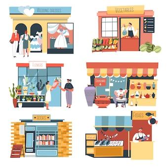 Tiendas y puestos de kioscos y tiendas de la calle.