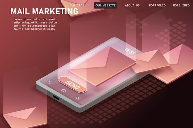 Tienes correo, aplicación de notificaciones de teléfono inteligente de correo electrónico isométrico