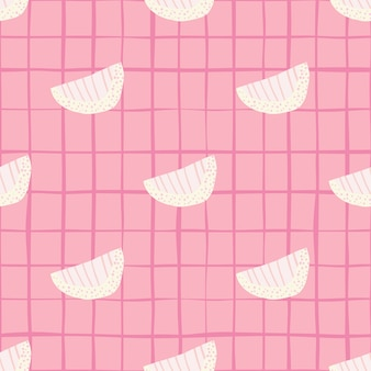 Tiernas rebanadas blancas doodle de patrones sin fisuras. fondo rosa suave con cheque. impresión dulce.