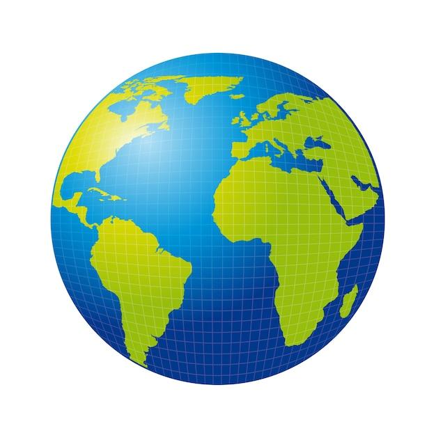 Tierra 3d aislada sobre ilustración de vector de fondo blanco