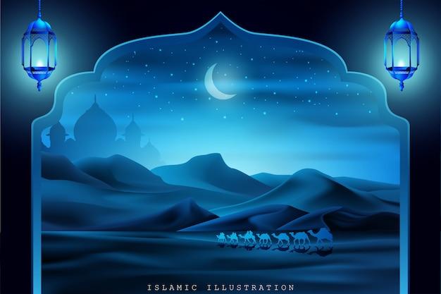 Tierra árabe montada en camellos por la noche