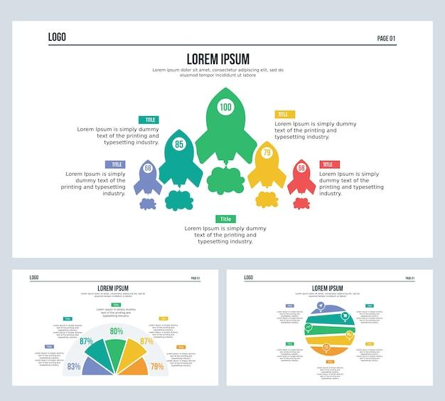 Tierra de beneficio del cohete conjunto presentación diapositiva y plantilla de powerpoint