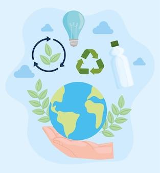 Tierra con conjunto de composición de reciclaje.