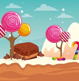 Tierra de dulces con brownie y caramelos