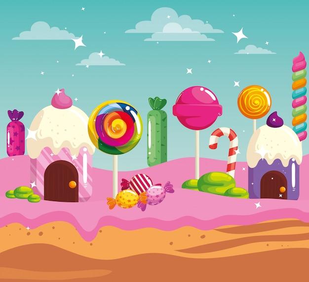 Tierra de dulces con casas magdalenas y caramelos