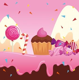 Tierra de dulces con cupcake y caramelos