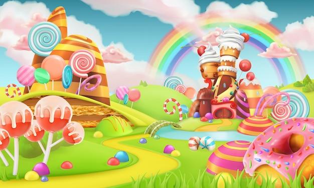 Tierra de dulces dulces. ilustración de vector de juego de dibujos animados