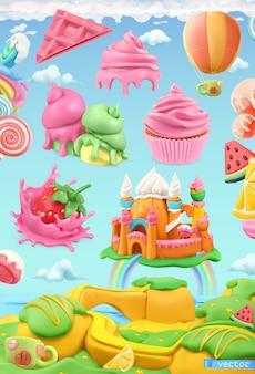 Tierra de dulces dulces, pastelería, arte de plastilina, ilustración vectorial