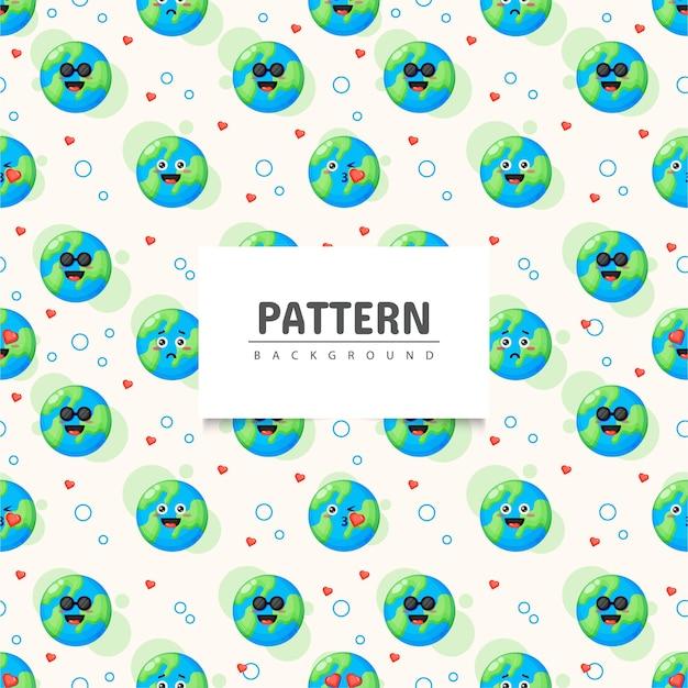 Tierra con emoticonos de patrones sin fisuras