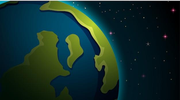 Tierra en escena espacial