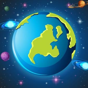 Una tierra en el espacio.