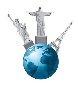 Tierra con estatuas aisladas sobre fondo blanco vector